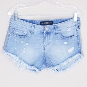 Express Jeans Midrise Distressed Cut Off Shorts 2